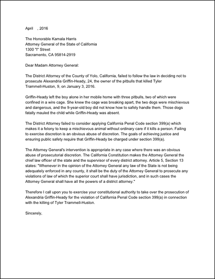 Attorney General letter re dog mauling